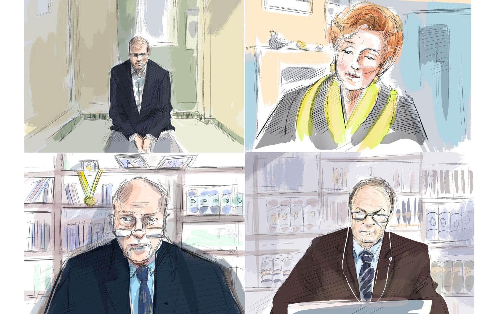Le procès d'Alek Minassian (en haut à gauche) se déroule de façon virtuelle. Dans les autres cases, on peut voir la juge Anne Molloy, l'avocat de la défense, MeBoris Bytensky (en bas à gauche) et le Dr Bradford (en bas à droite).