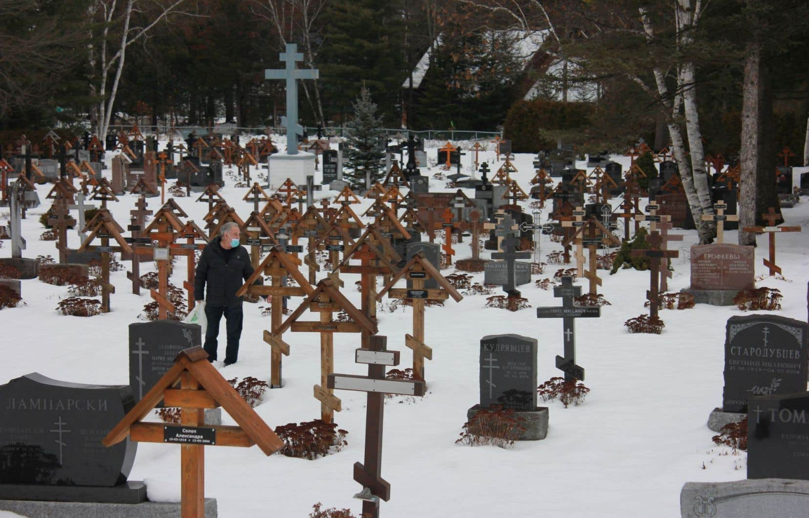 Le cimetière rue Pétrograd, à Rawdon, est le plus grand cimetière orthodoxe russe du Québec.<br />