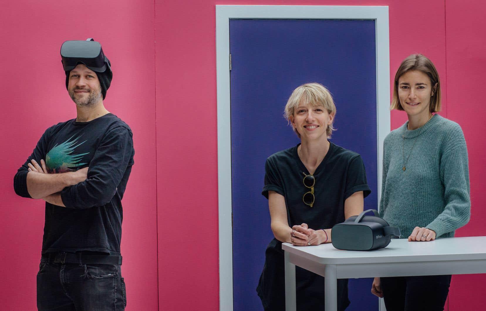 Alexandre Barrette, Marcella Grimaux et Catherine Simard lors du tournage d'un clip en réalité virtuelle avec Fouki, dans le cadre du projet Asteria, au studio Notre-Dame.