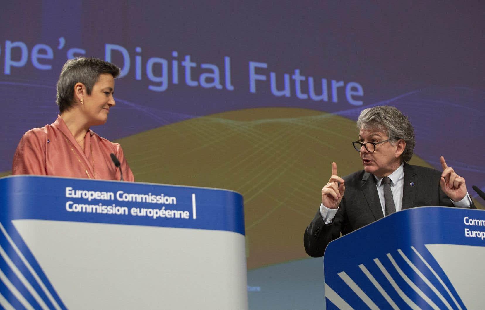 La vice-présidente en charge de la Concurrence, Margrethe Vestager, et le commissaire au Marché intérieur, Thierry Breton