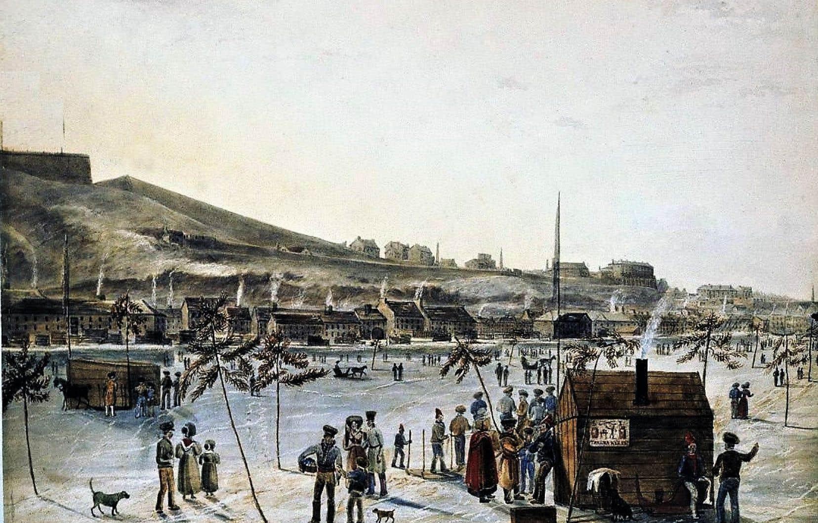 Le pont de glace de Québec dessiné par James Pattison Cockburn, vers 1830.
