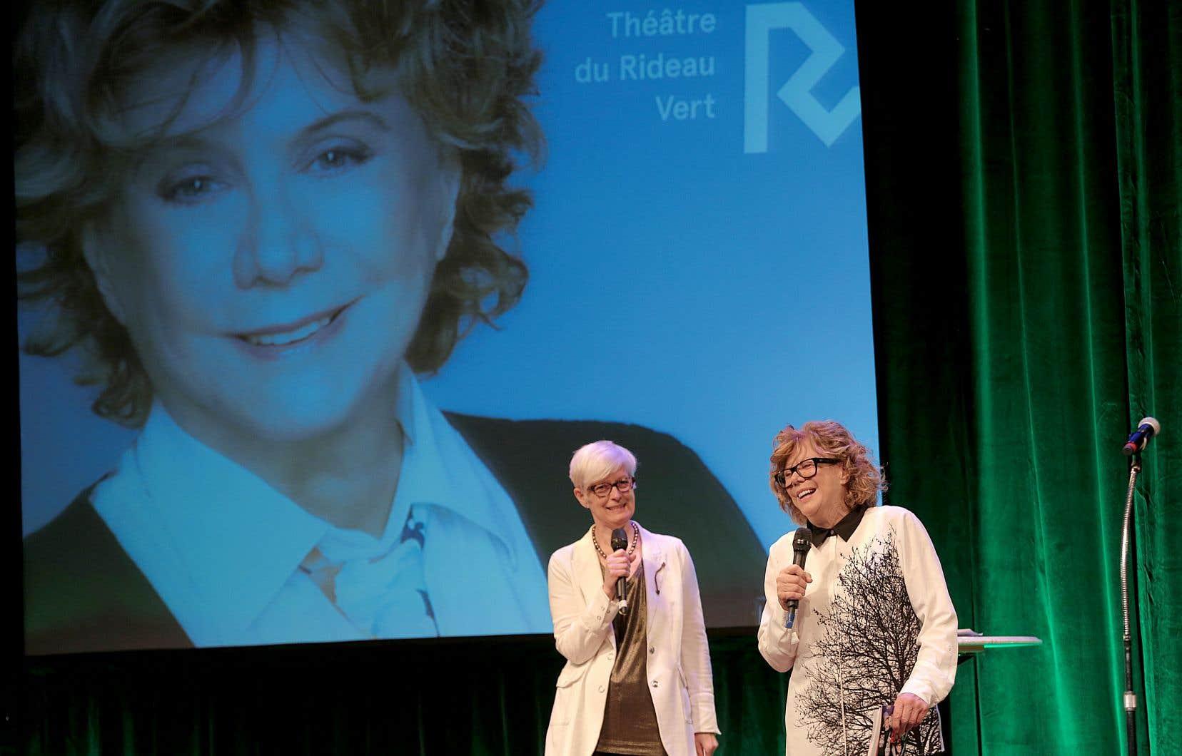 La directrice générale du Théâtre du Rideau Vert, Céline Marcotte, et la directrice artistique, Denise Filiatrault, en 2015