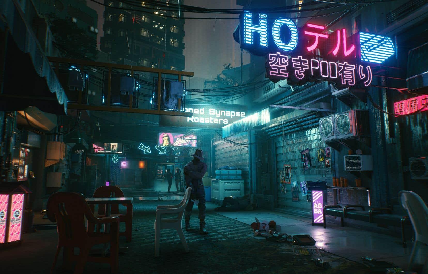 L'histoire se déroule dans Night City, une mégapole contrôlée par une poignée d'entreprises véreuses et dévastée par la pauvreté et des guerres de gangs endémiques. On adopte la perspective à la première personne de «V», un mercenaire dont on peut personnaliser la voix, l'apparence, le style et le passé.