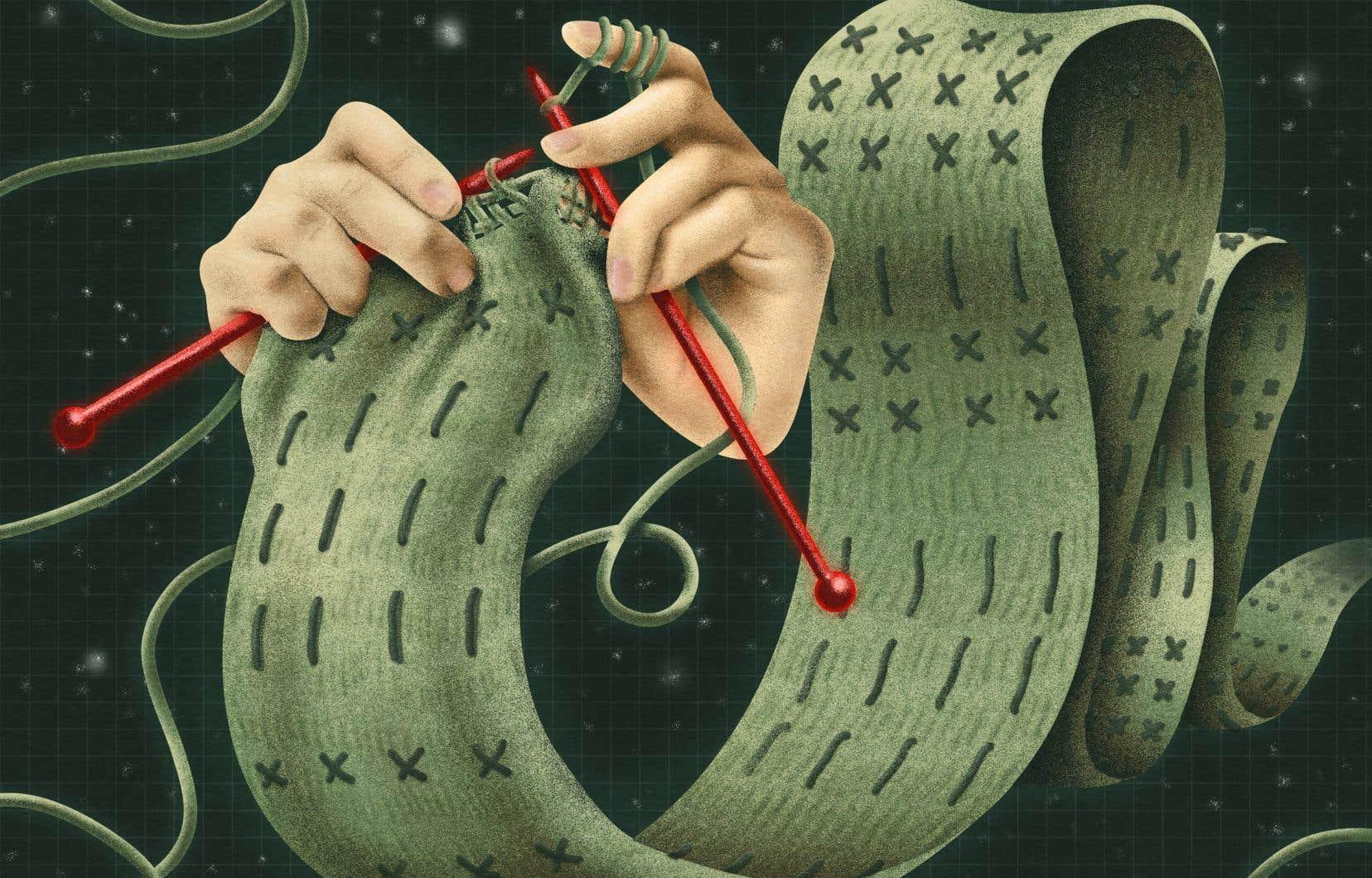 «Dans la laine kaki destinée aux soldats, elle avait tricoté un foulard aussi long que lui, large comme deux mains ouvertes, mais aux mailles et aux points irréguliers, comme si elle s'était essayée pour la première fois à faire de la dentelle (...)»