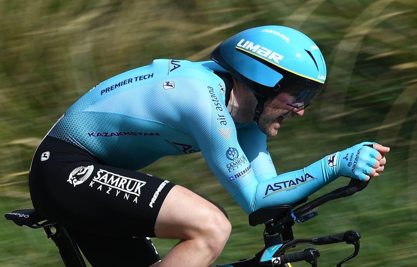 Hugo Houle photographié en mars 2019, durant la cinquième étape de la course Paris-Nice