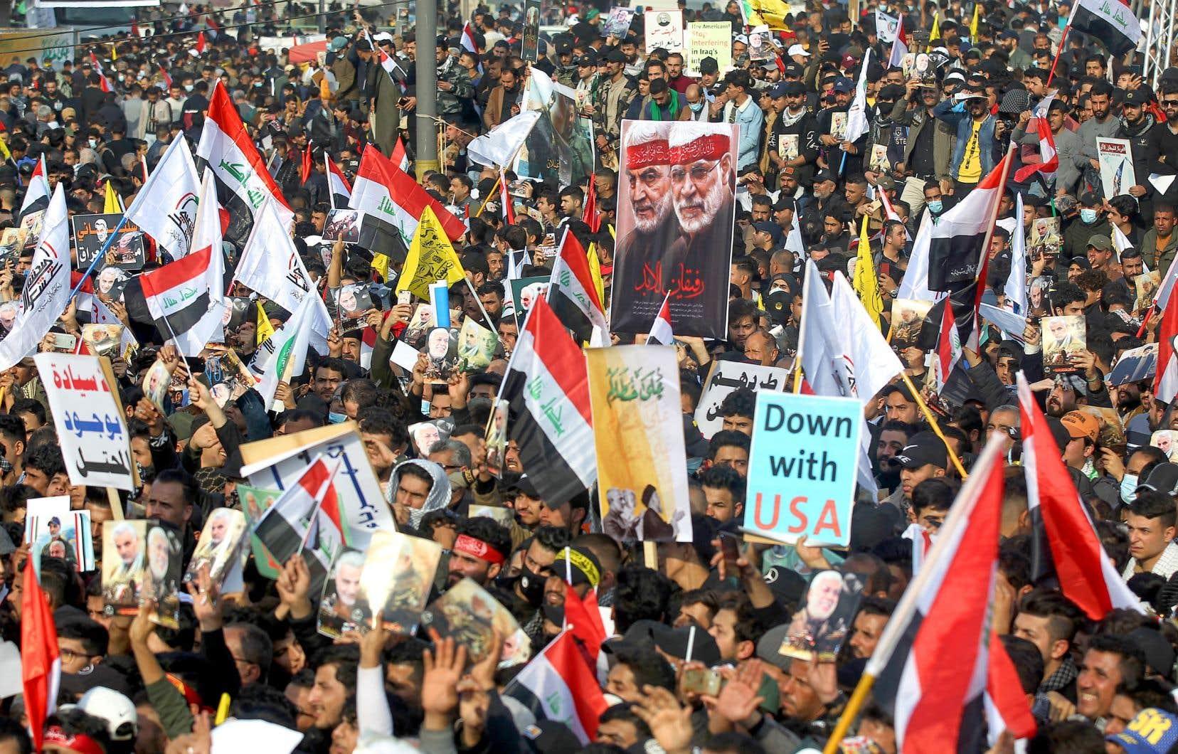 Le 3 janvier 2020, Qassem Soleimani et son lieutenant irakien, Abou Mehdi al-Mouhandis, avaient été tués par une attaque de drone à l'aéroport international de Bagdad, sur ordre du président Donald Trump. Pour le premier anniversaire de leur mort, les Irakiens pro-Iran ont conspué le «grand Satan» américain.