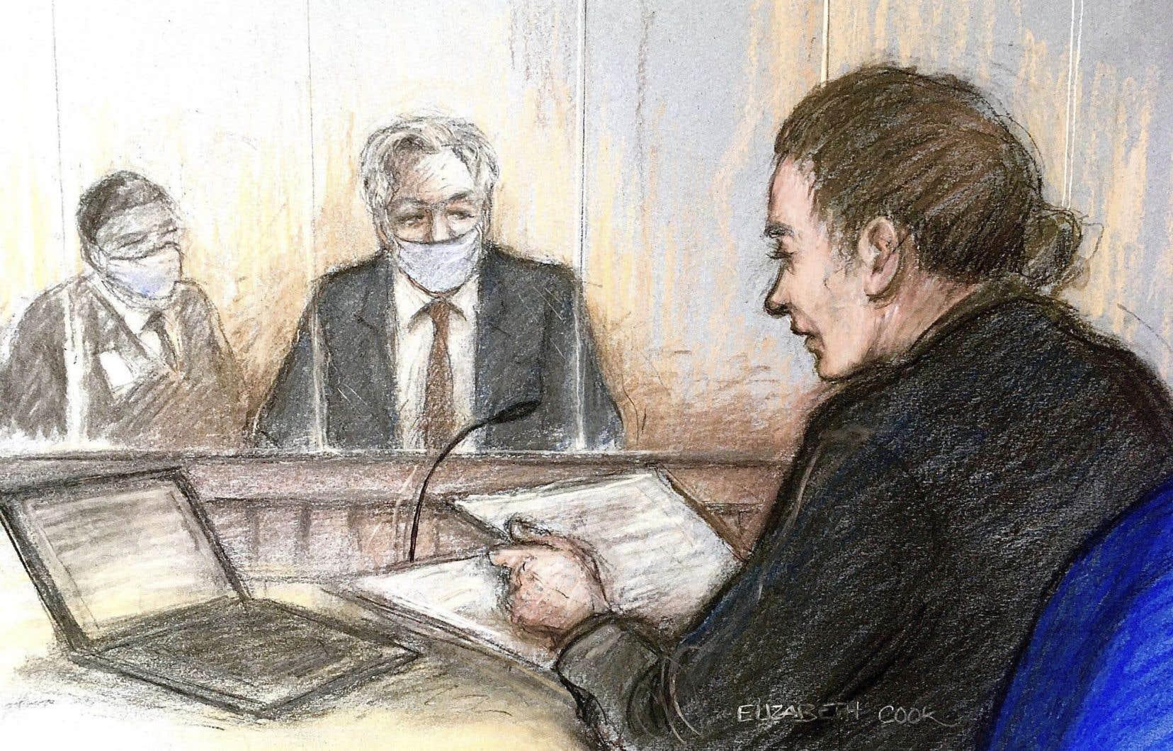 Une illustration montre Julian Assange (au centre) à la cour de Westminster, mercredi à Londres.