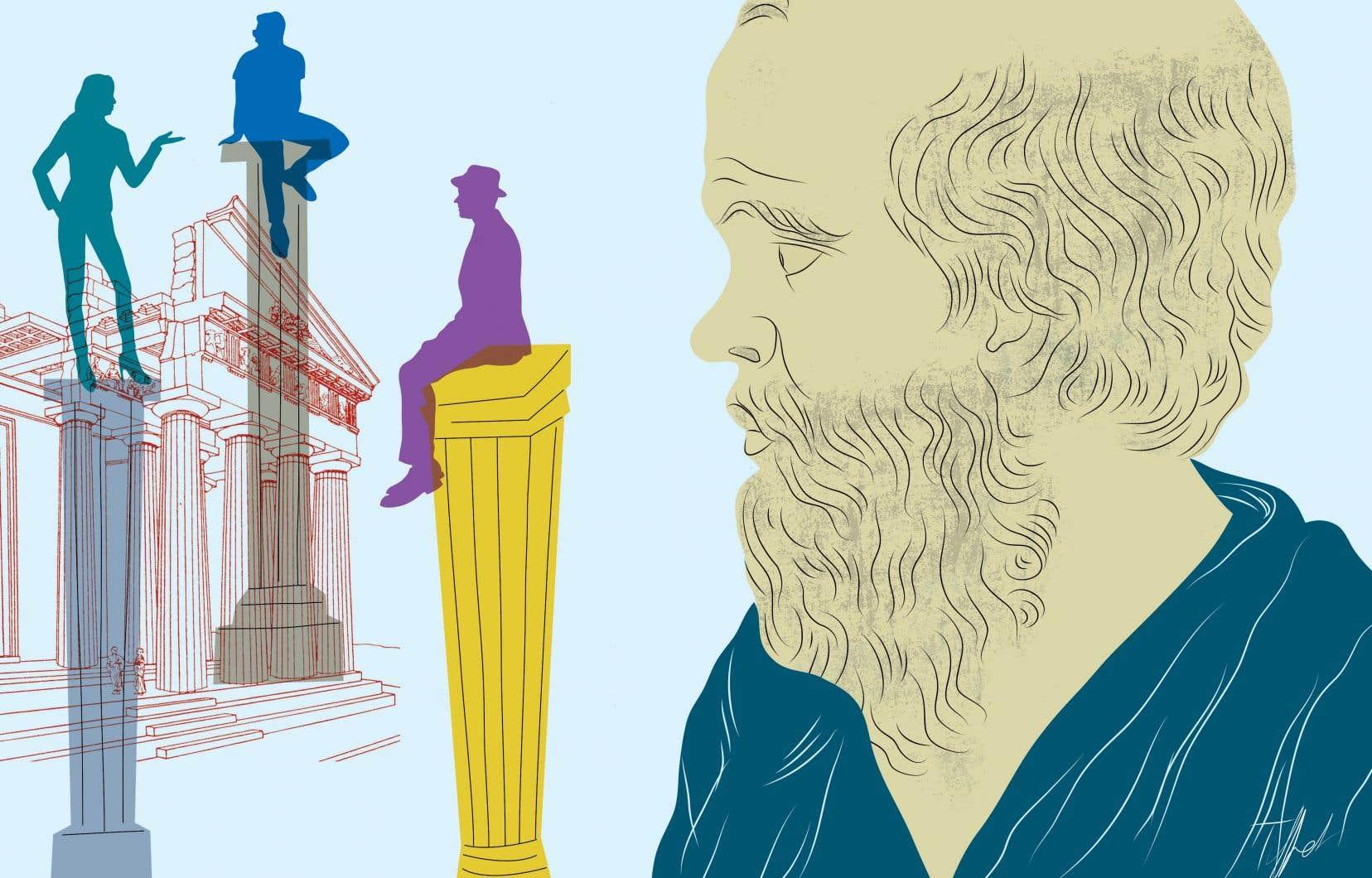 C'est par le questionnement que Socrate amène ses interlocuteurs à découvrir qu'ils ne savent pas ce qu'ils croient savoir. L'apprentissage, la quête de la vérité et de la sagesse ne peuvent commencer qu'une fois qu'on a pris conscience de sa propre ignorance.