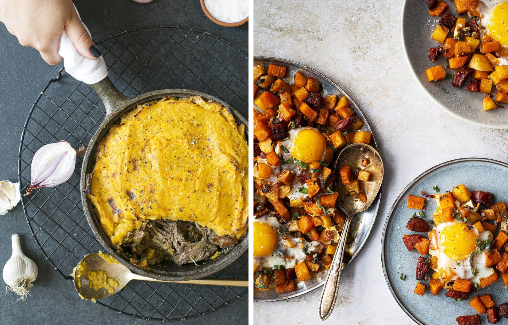Un parmentier de canard et de patates douces (à gauche) et une plaque de patates douces, œufs et chorizos (à droite)