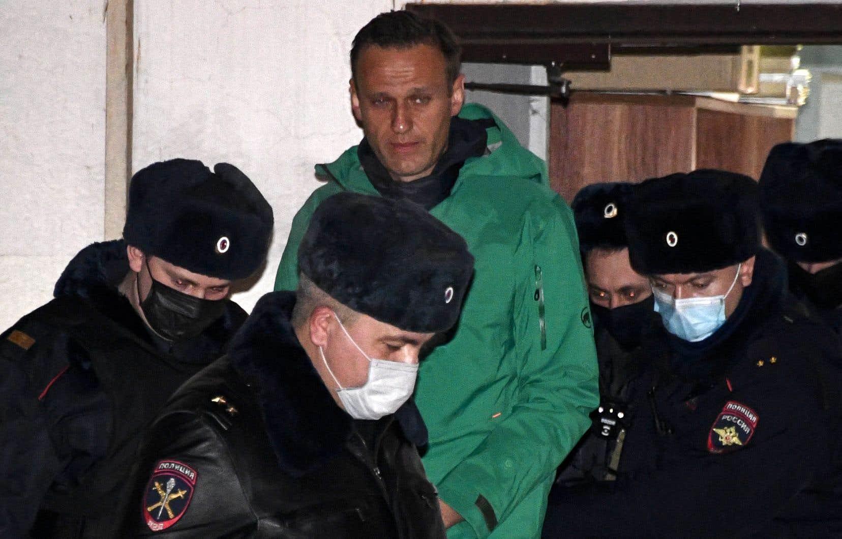 Alexeï Navalny a été arrêté à son retour de plusieurs mois de convalescence après un empoisonnement présumé dont il a été victime en août en Sibérie.