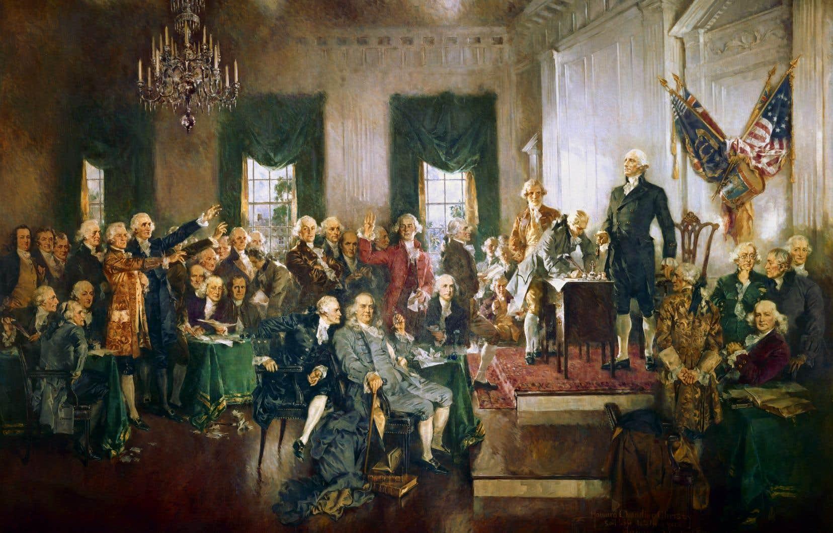 «Scène à la signature de la Constitution des États-Unis», par Howard Chandler Christy. Tableau exposé au Capitole représentant les 33 délégués qui signèrent la Constitution des États-Unis, en 1787.