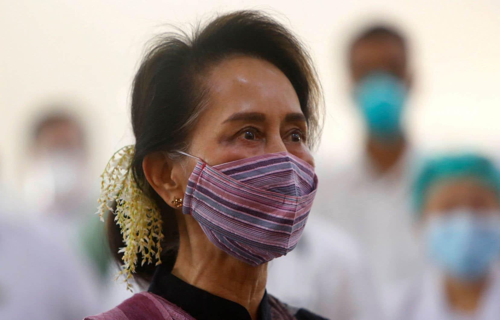 La cheffe de facto du gouvernement myanmarais, Aung San Suu Kyi, en janvier dernier