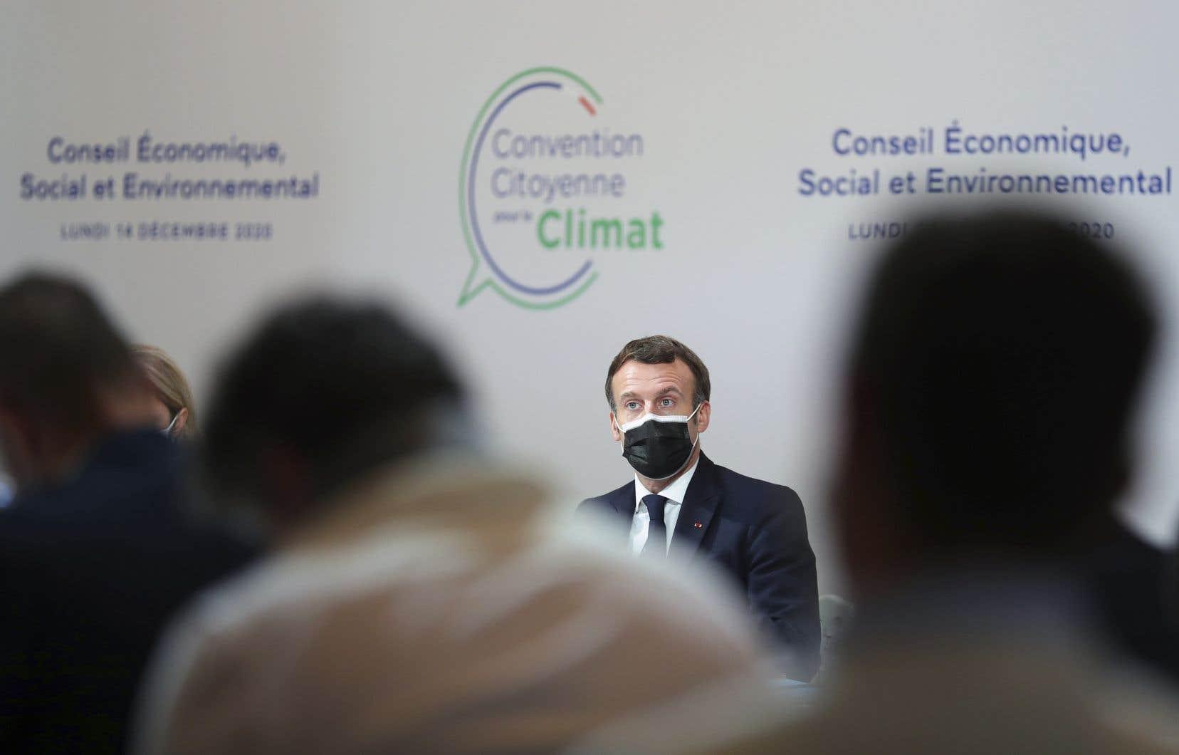 Le président français, devant la Convention citoyenne pour le Climat le 14 décembre dernier