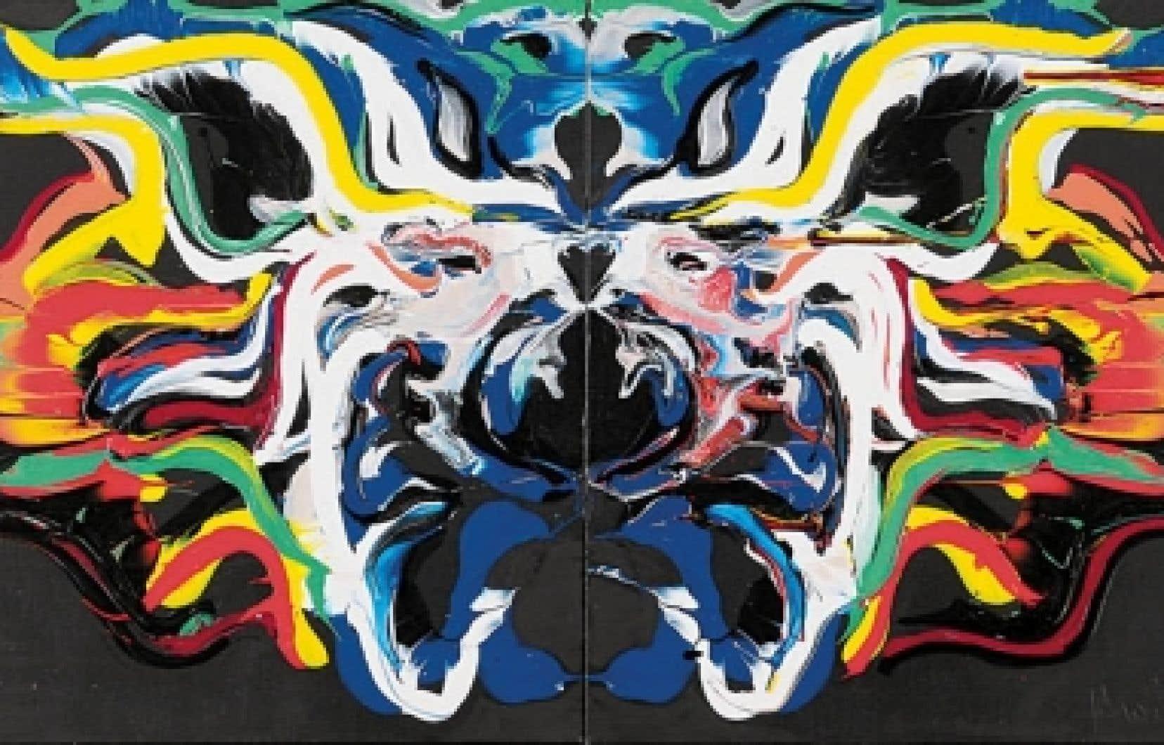 Jacques Hurtubise, Chichirico, 1987, acrylique sur toile, 51 x 122 cm<br /> <br />