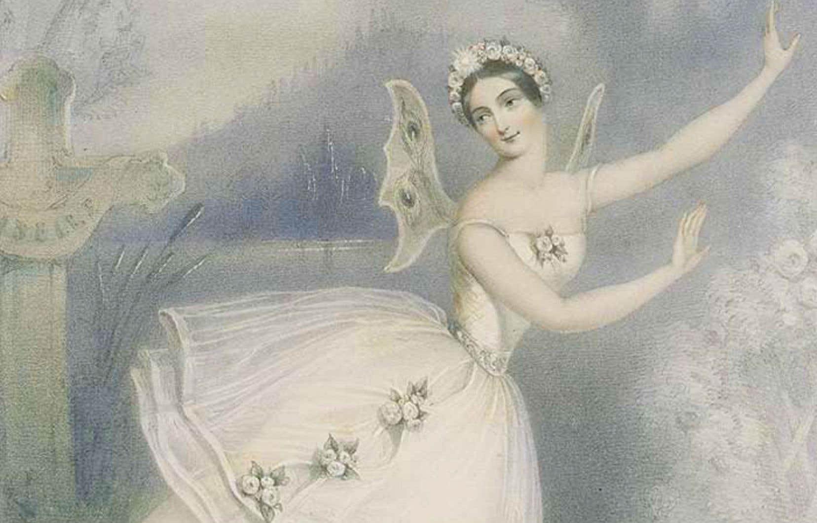 Lithographie tirée du livre «The Romantic Ballet in Paris» d'Ivor Guest, représentant la ballerine Carlotta Grisi dans «Giselle», Paris, 1841