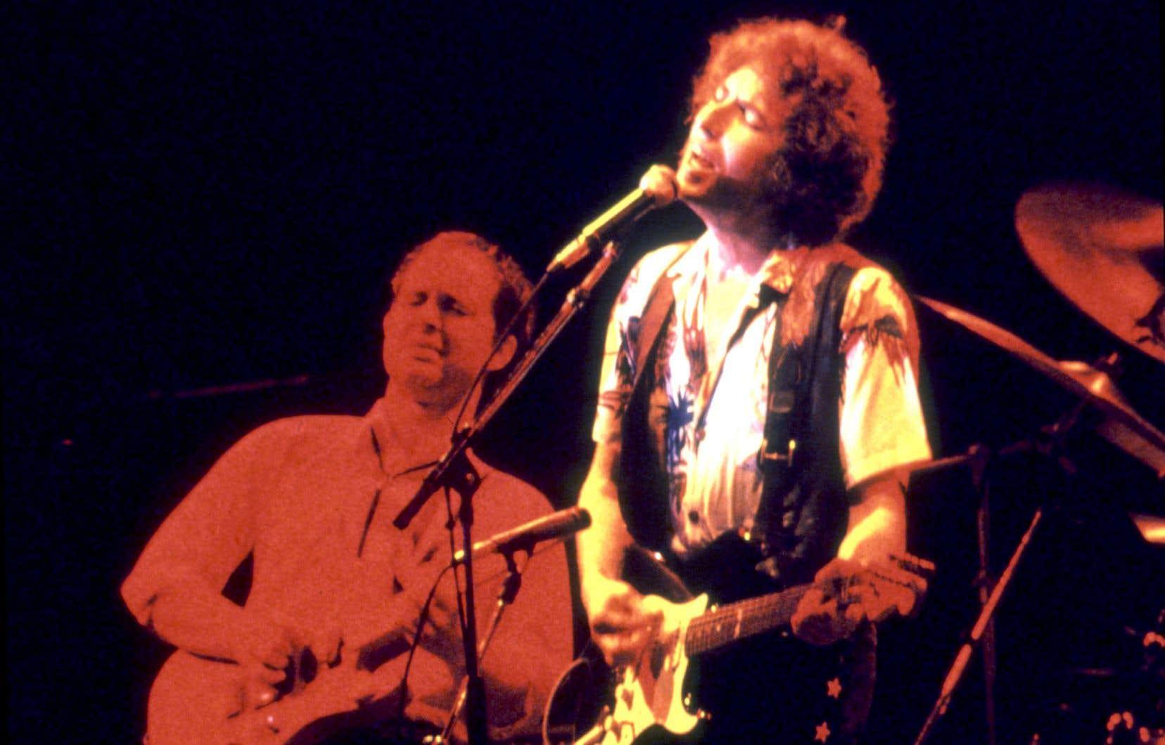Le chanteur Bob Dylan lors d'un concert à Stockholm le 8 juillet 1981