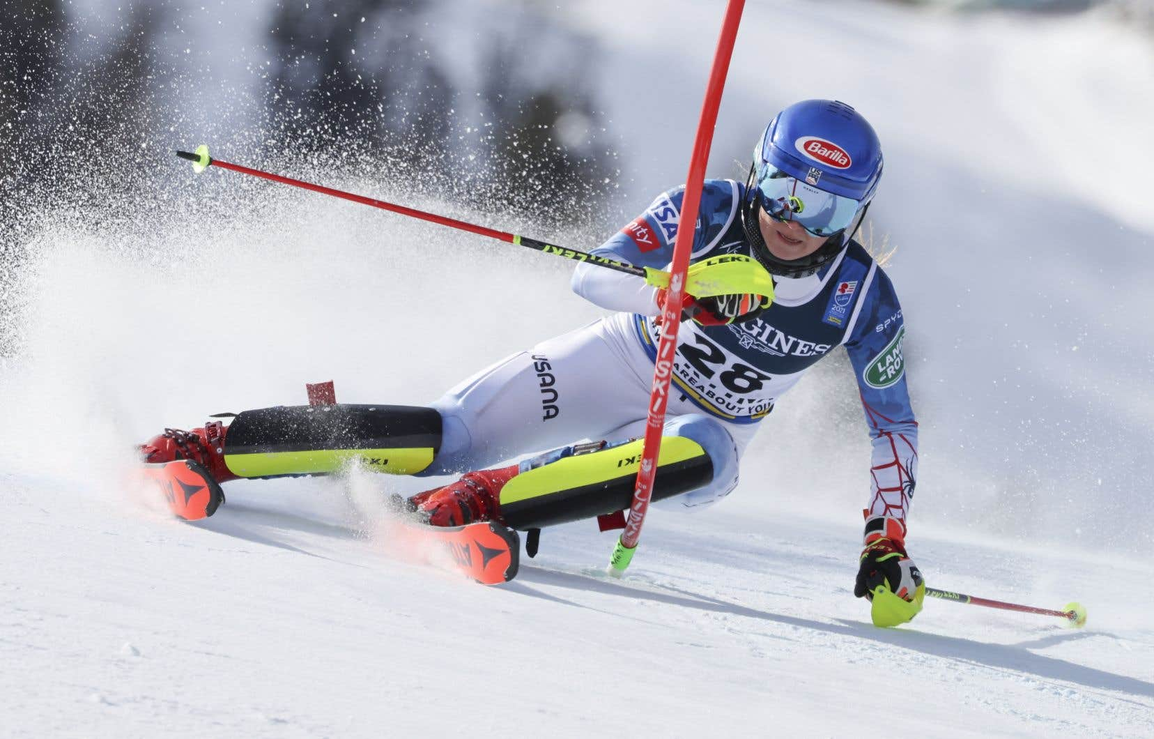L'Américaine Mikaela Shiffrin dominé le combiné des Mondiaux de Cortina d'Ampezzo en Italie, lundi, eta décroché à seulement 25ans un 6etitre et une 9emédaille mondiale.Sur cette photo, elle prend part à l'épreuve de slalom.