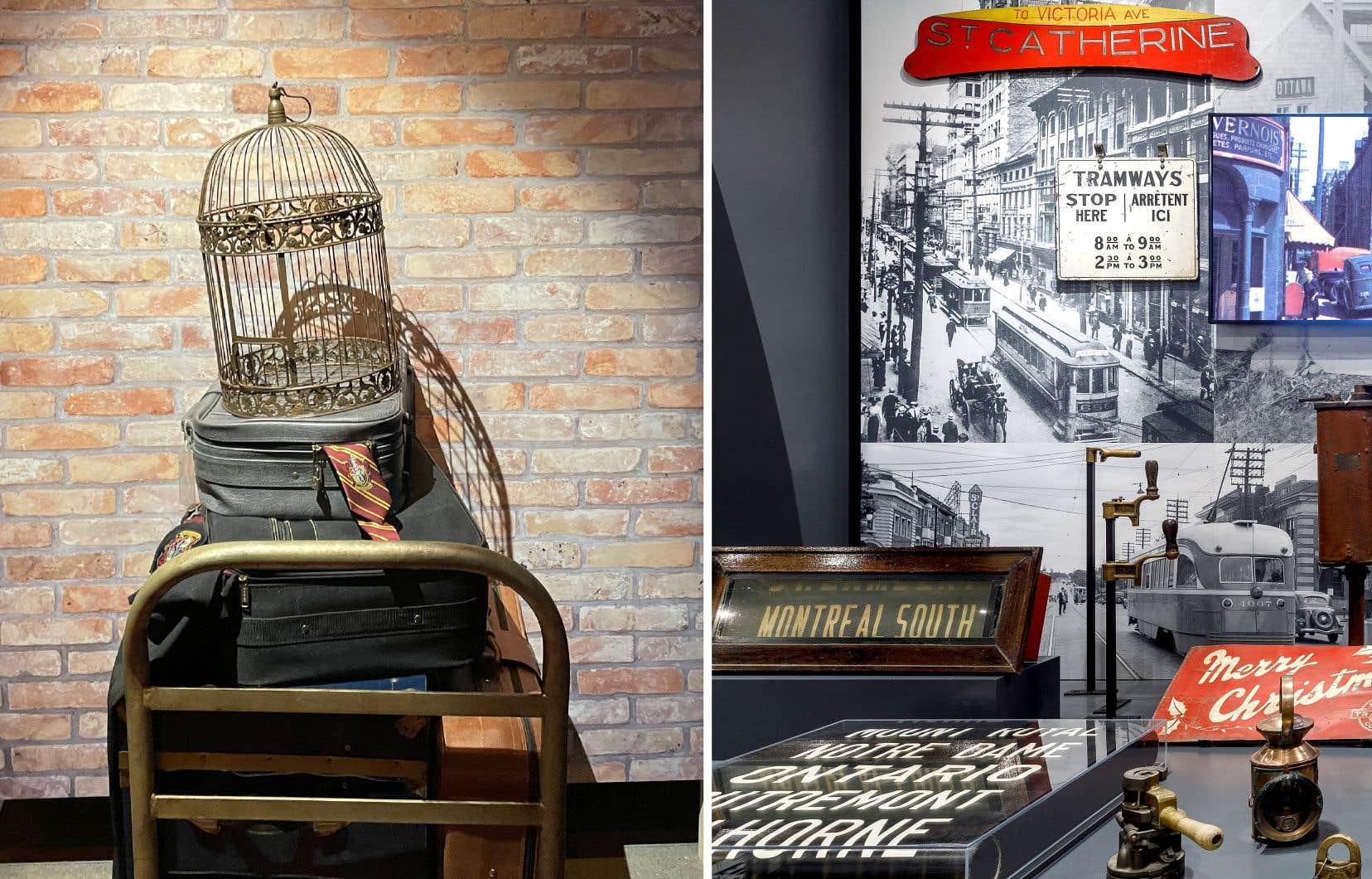 À Montréal, Pointe-à-Callière présente l'exposition Trains, transporteurs de rêve, où l'une des salles est consacrée aux films dans lesquels les convois jouent un rôle important (à gauche) tandis qu'à Saint-Constant, la nouvelle exposition permanente d'Exporail met en valeur le travail des artisans des chemins de fer (à droite).