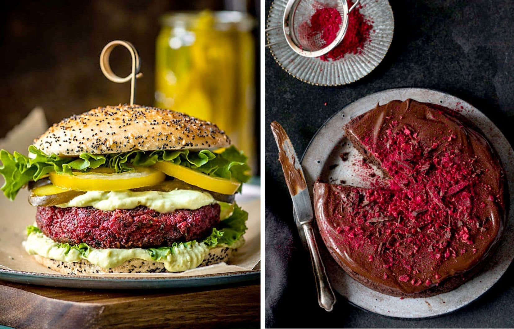 Un végéburger aux betteraves et un gâteau choco-betteraves