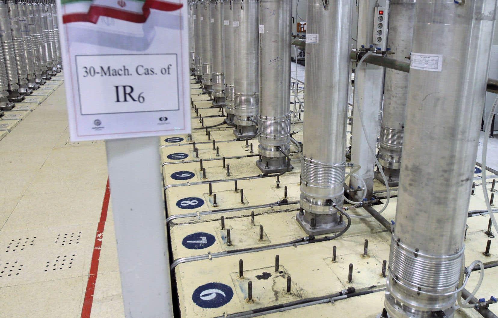 Des centrifugeuses, dans l'installation d'enrichissement d'uranium de Natanz dans le centre de l'Iran