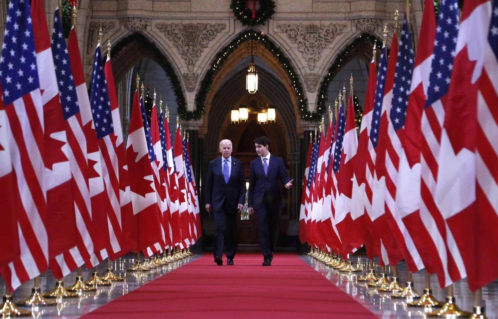 Justin Trudeau, premier ministre du Canada, et Joe Biden, alors vice-président des États-Unis, en 2016