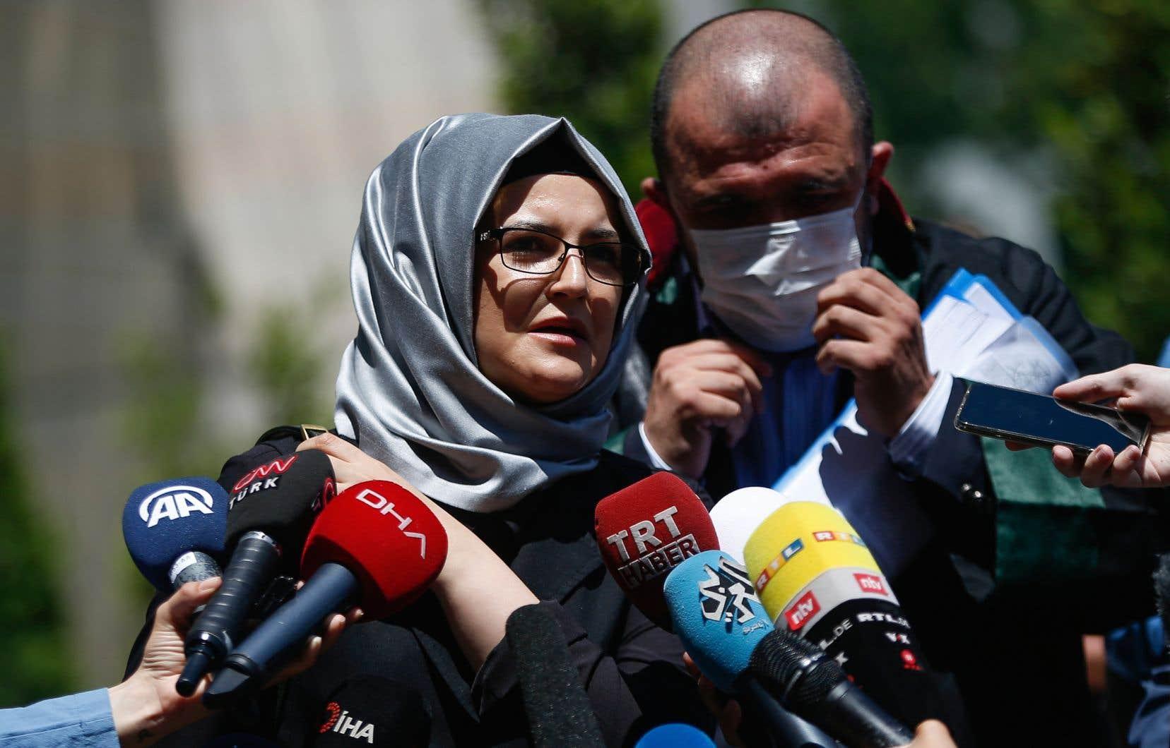 La fiancée de Jamal Khashoggi, Hatice Cengiz, lors d'une conférence de presse en juillet dernier