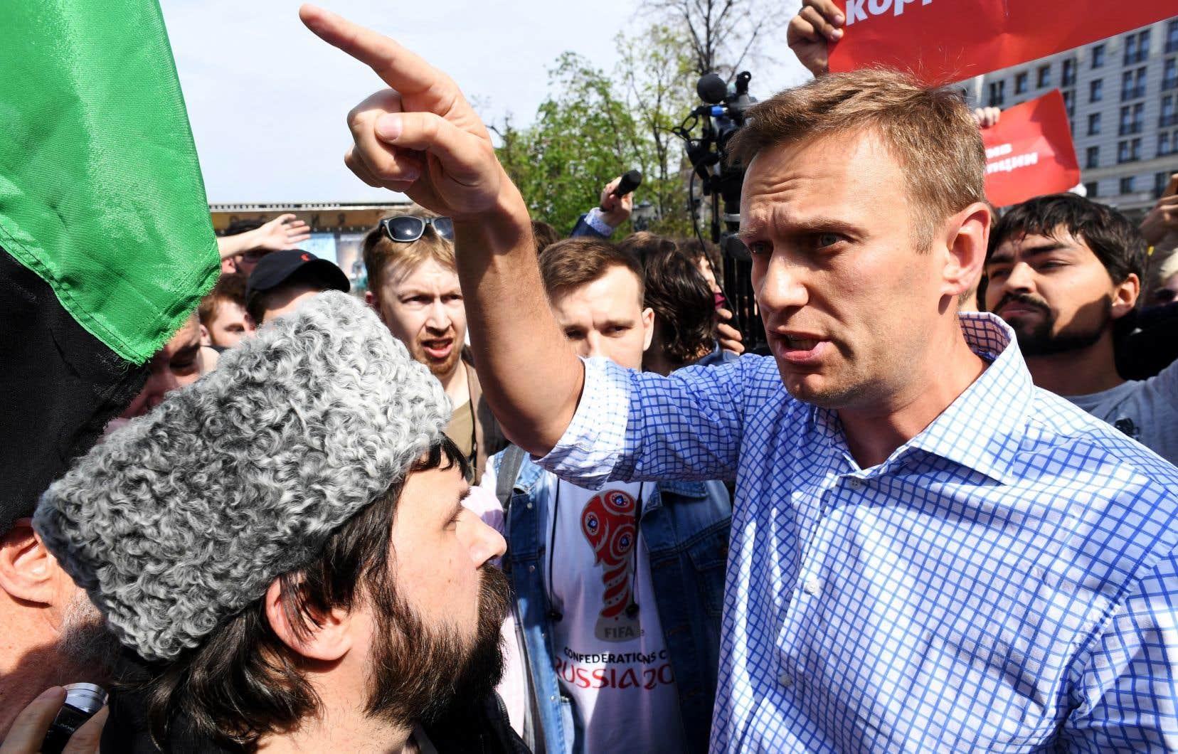 L'opposant russe Alexeï Navalny lors d'une manifestation en 2018