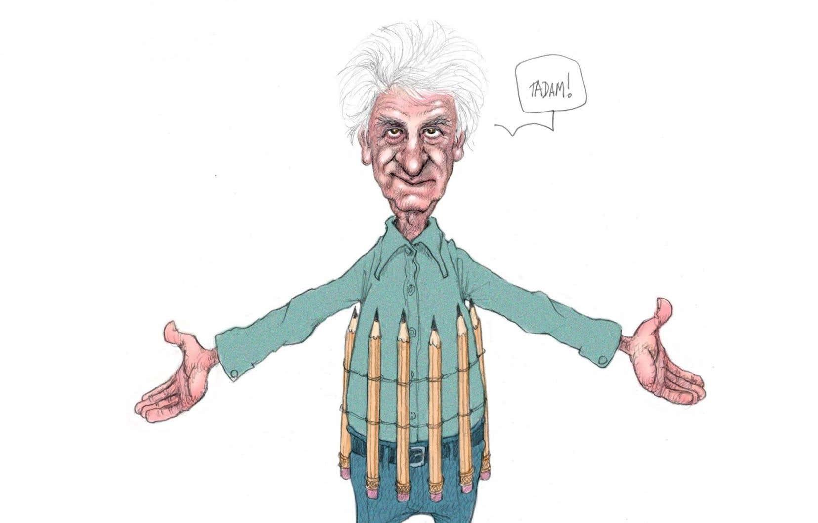 Le Musée McCord rassemble 150 esquisses et illustrations du caricaturiste Serge Chapleau. Sur l'illustration, <em>Autoportrait à l'arme de destruction massive</em> (Serge Chapleau, <em>La Presse</em>, 18 février 2006).