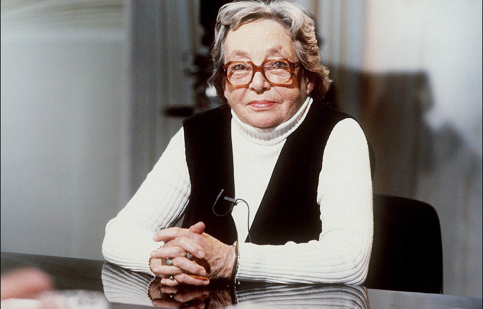 Marguerite Duras en 1984 à Paris, alors qu'elle participait à l'émission «Apostrophes»
