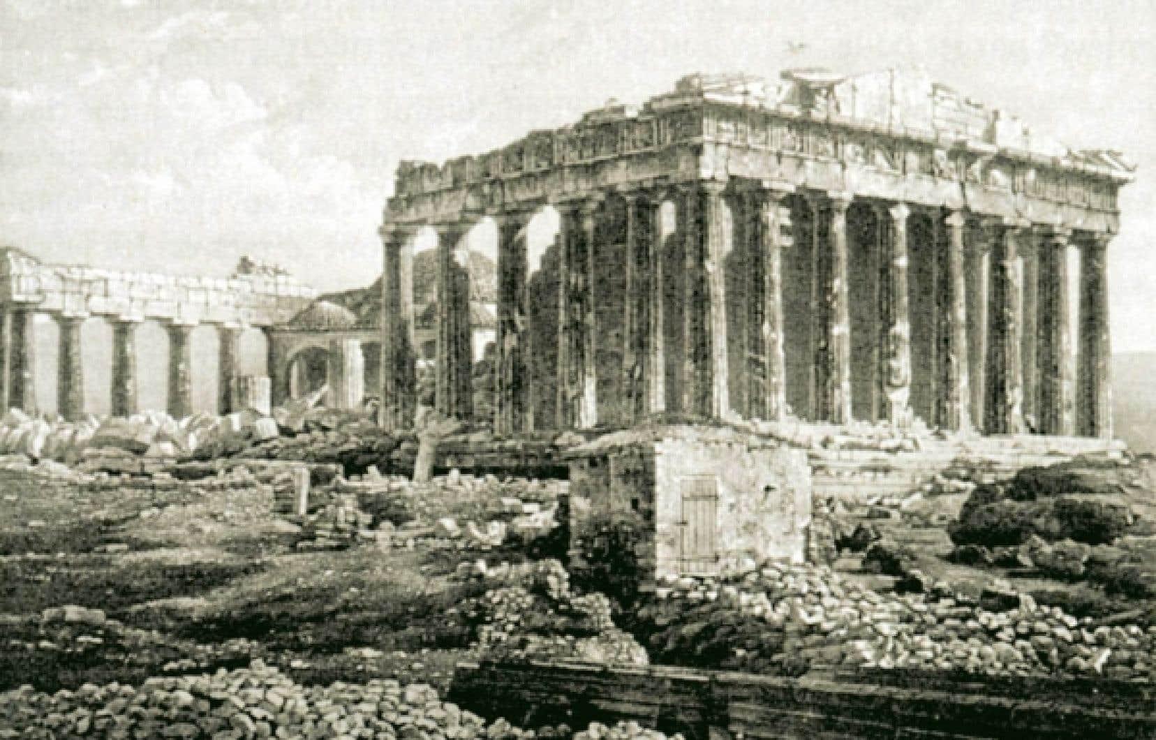 Une image du Parthénon réalisée d'après un daguerréotype pris à Athènes. Dans ses écrits de voyages, de Lotbinière précise à raison être le premier à avoir fixé par la photographie bien des ruines célèbres. <br />