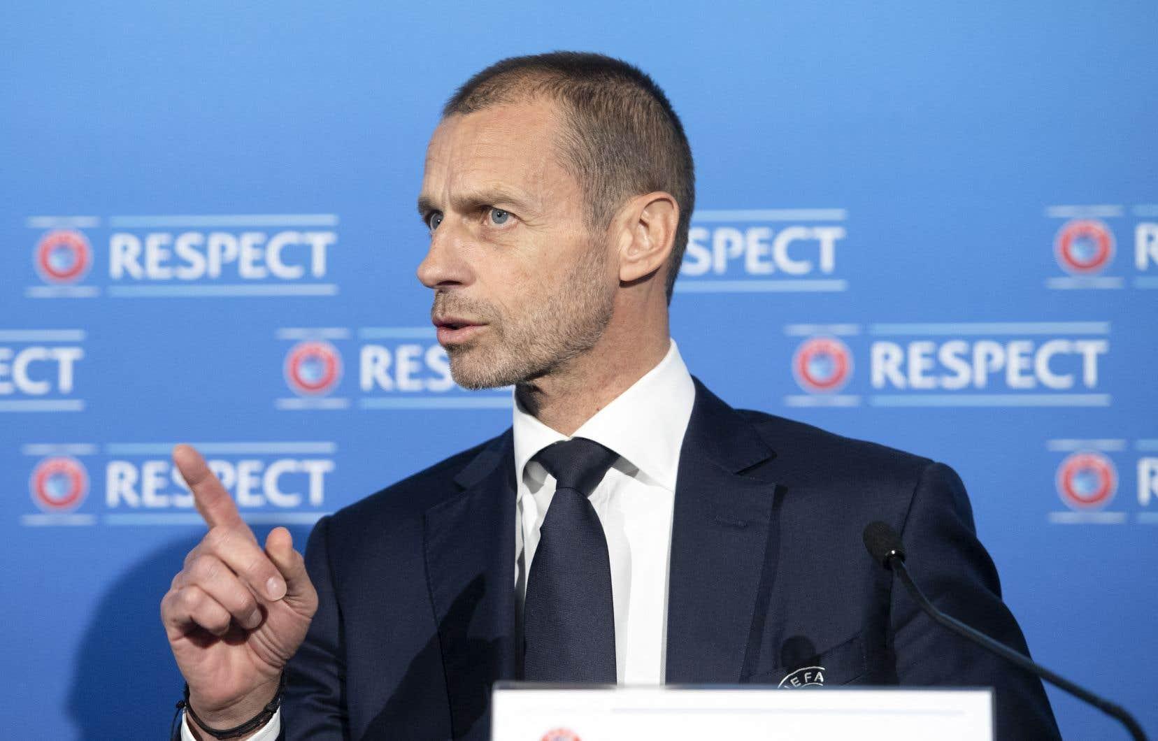 Le président de l'UEFA, Aleksander Ceferin, lors d'une conférence de presse le 19 avril 2021