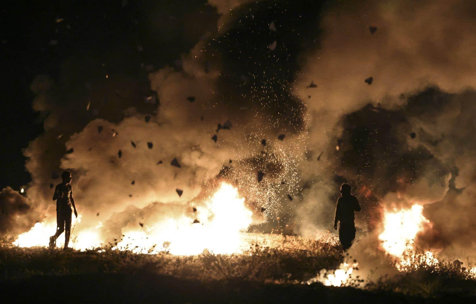Les forces de l'ordre israéliennes ont utilisé des grenades assourdissantes, des balles en caoutchouc et aussi un canon à eau putride afin de disperser des Palestiniens.