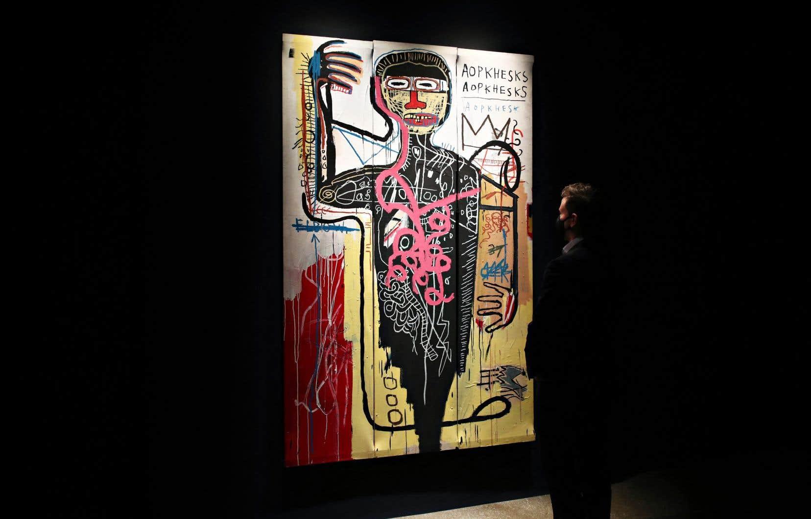 L'oeuvre, «Versus Medici», de Jean-Michel Basquiat, premier peintre noir tête d'affiche des deux principales ventes de Christie's et Sotheby's.