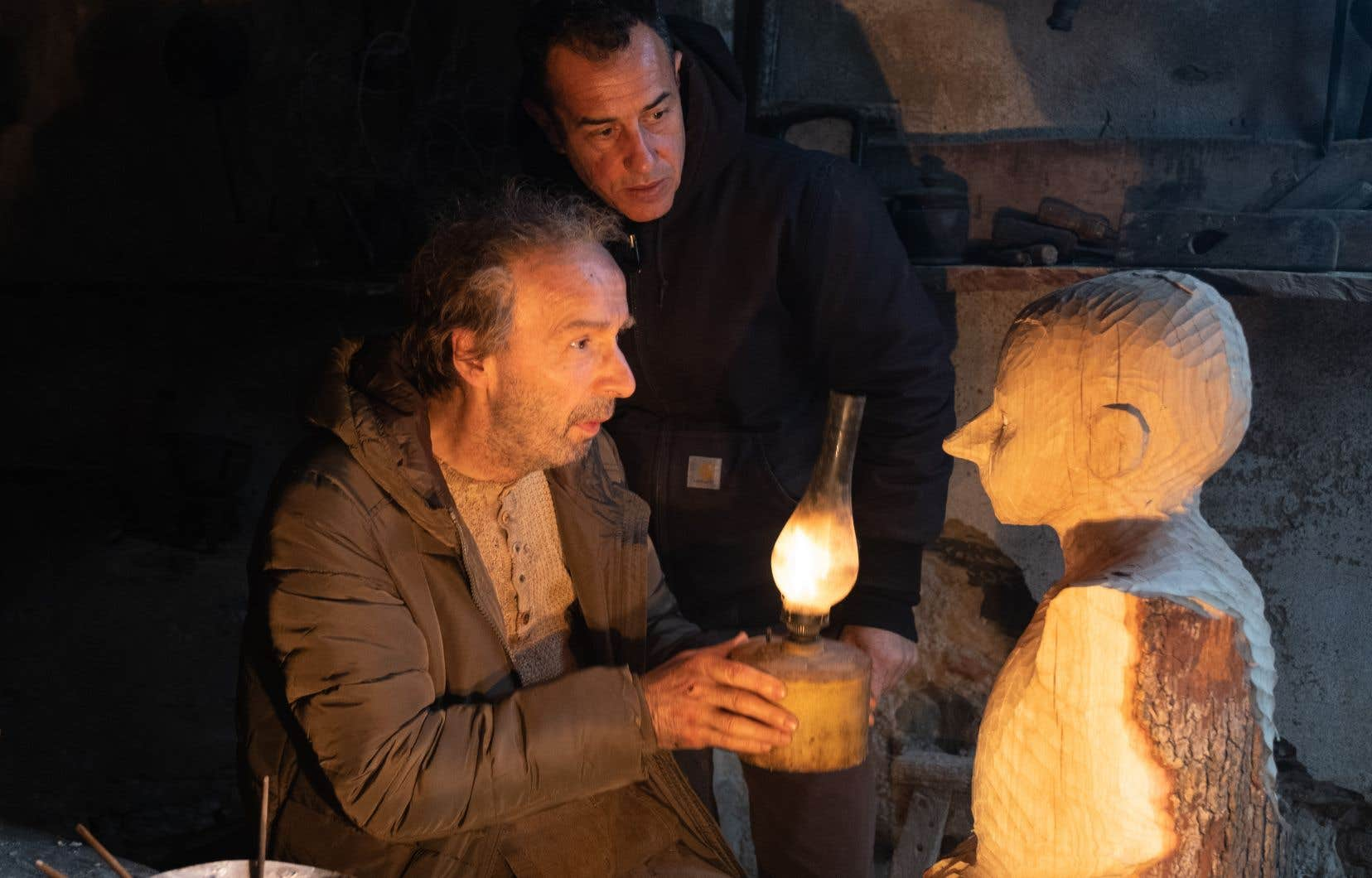 Matteo Garrone et Roberto Benigni sur le plateau de tournage de «Pinocchio»