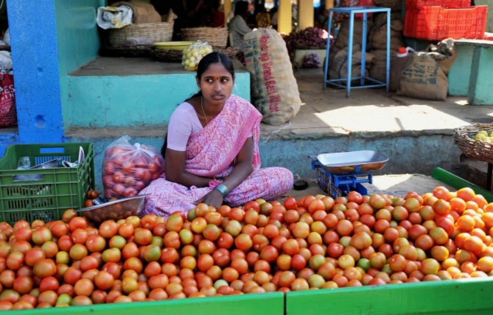 En Inde, une jeune femme vend des légumes dans un marché.