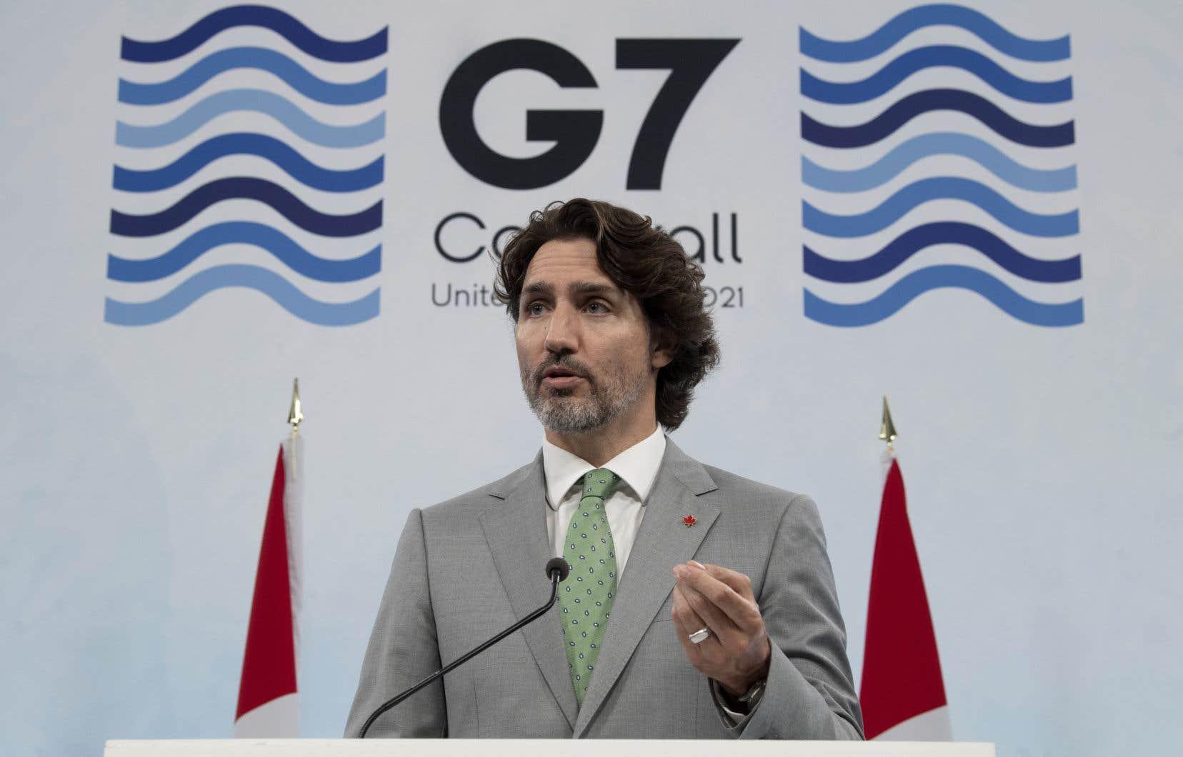 Le premier ministre Justin Trudeau a annoncé cet engagement à la fin du sommet du G7 en Angleterre, dimanche.