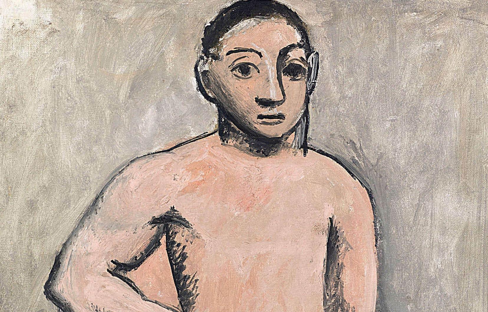 Pablo Picasso, détail de «Jeune garçon nu», automne 1906