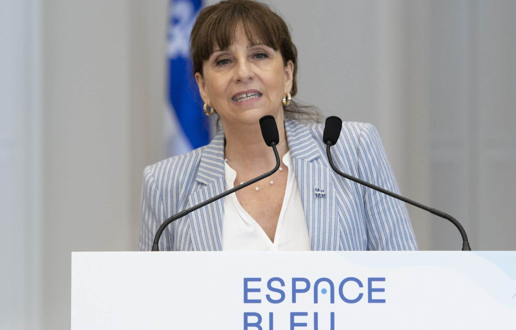 La ministre de la Culture, Nathalie Roy, en conférence de presse le 10 juin à l'annonce de l'initative qui servira à promouvoir la culture québécoise, Espace Bleu.