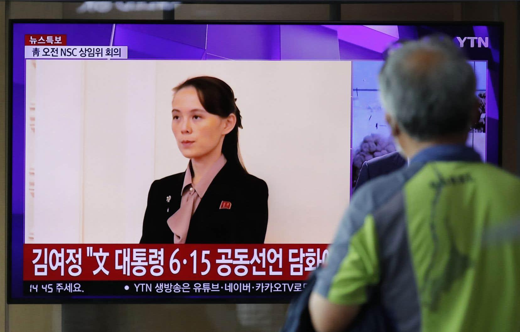 Kim Yo-jong, la sœur du leader nord-coréen Kim Jong-un, lors d'une émission télévisée le 17 juin.