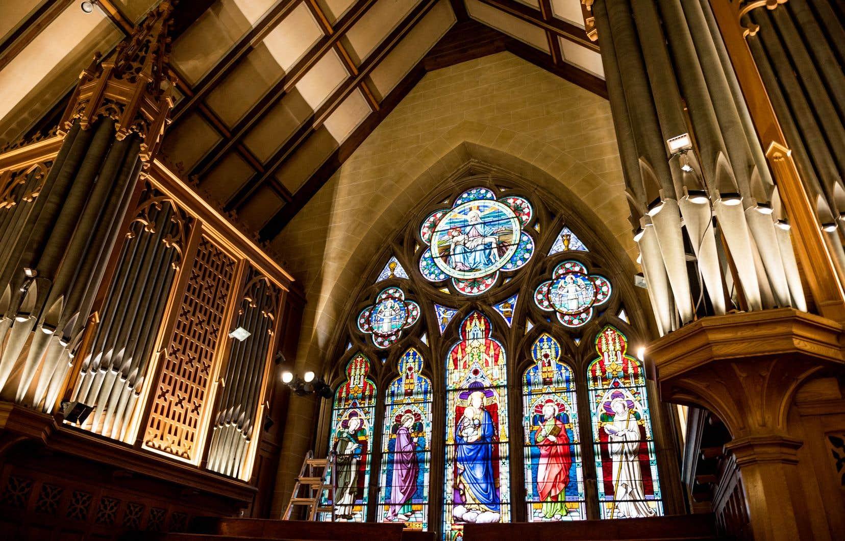 Vue de l'intérieur du Musée des métiers d'arts du Québec, qui se cache dans une ancienne église de l'avenue Sainte-Croix, dans le Vieux-Saint-Laurent.