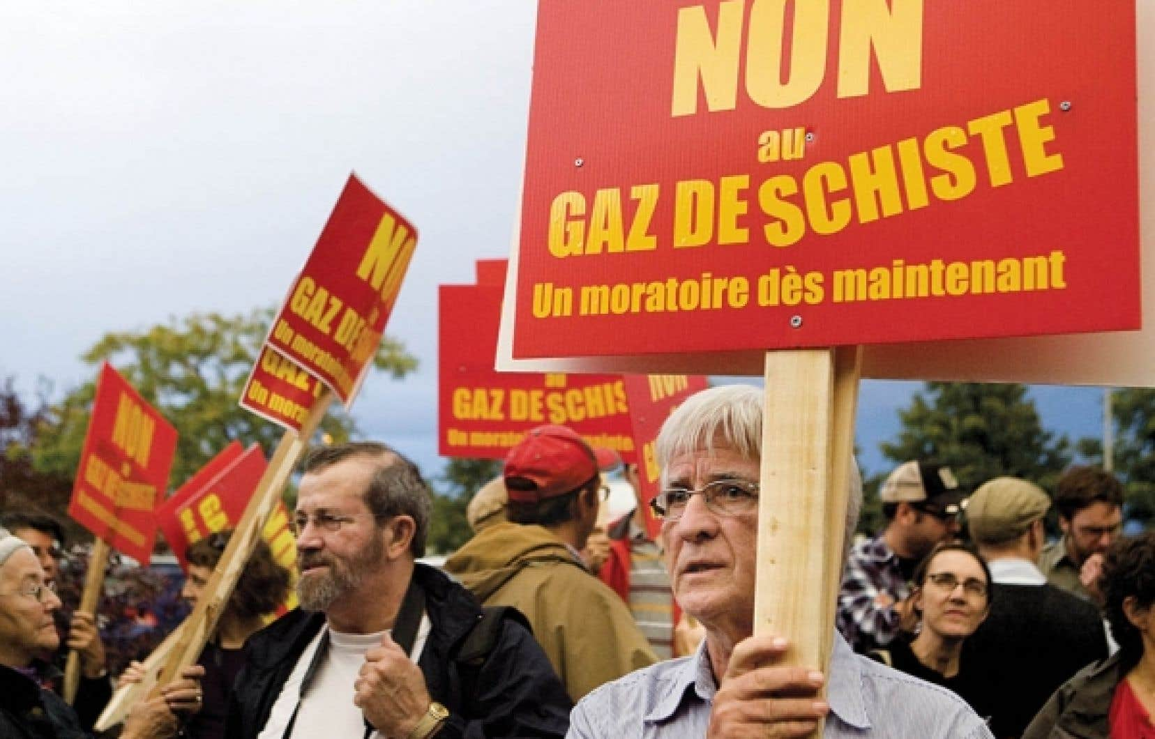 Manifestation contre l'exploitation du gaz de schiste à Saint-Hyacinthe l'automne dernier.