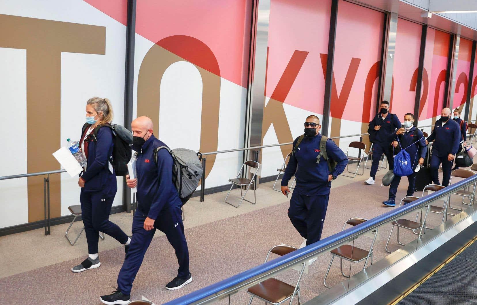 Arrivée de l'équipe américaine de boxe à l'aéroport international de Narita, à l'est de Tokyo, le 1er juillet dernier.