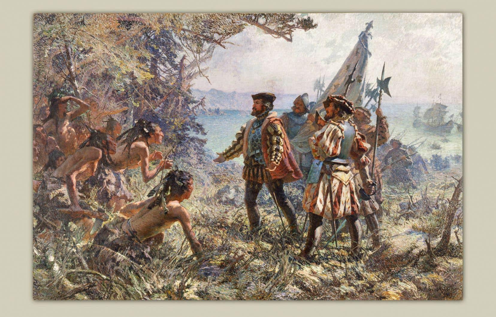 «Jacques Cartier rencontre les Indiens à Stadaconé, 1535». Huile sur toile de Marc-Aurèle de Foy Suzor-Coté,1907. Collection du Musée national des beaux-arts du Québec.