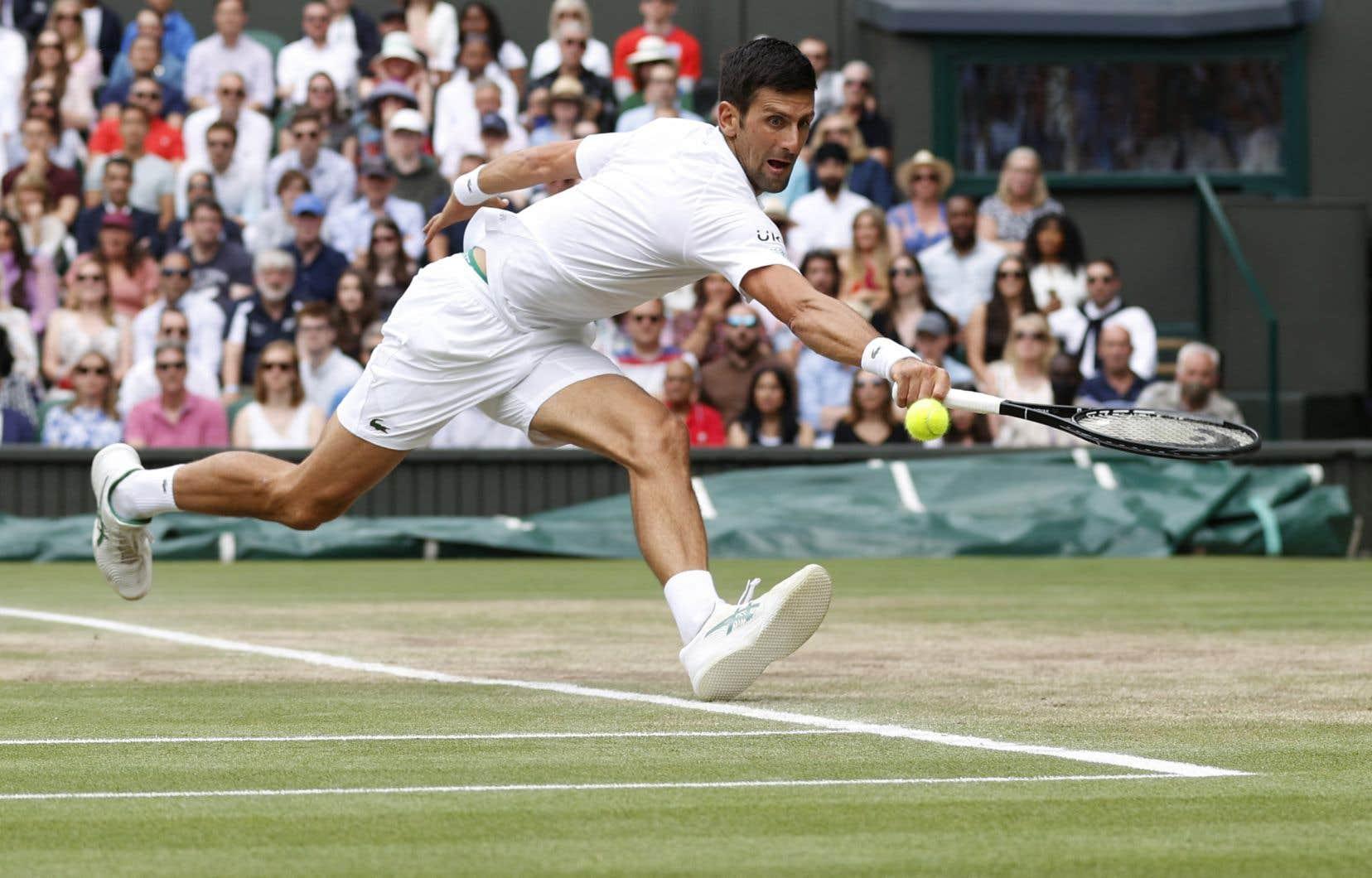 Novak Djokovic, lors de la finale de Wimbledon dimanche