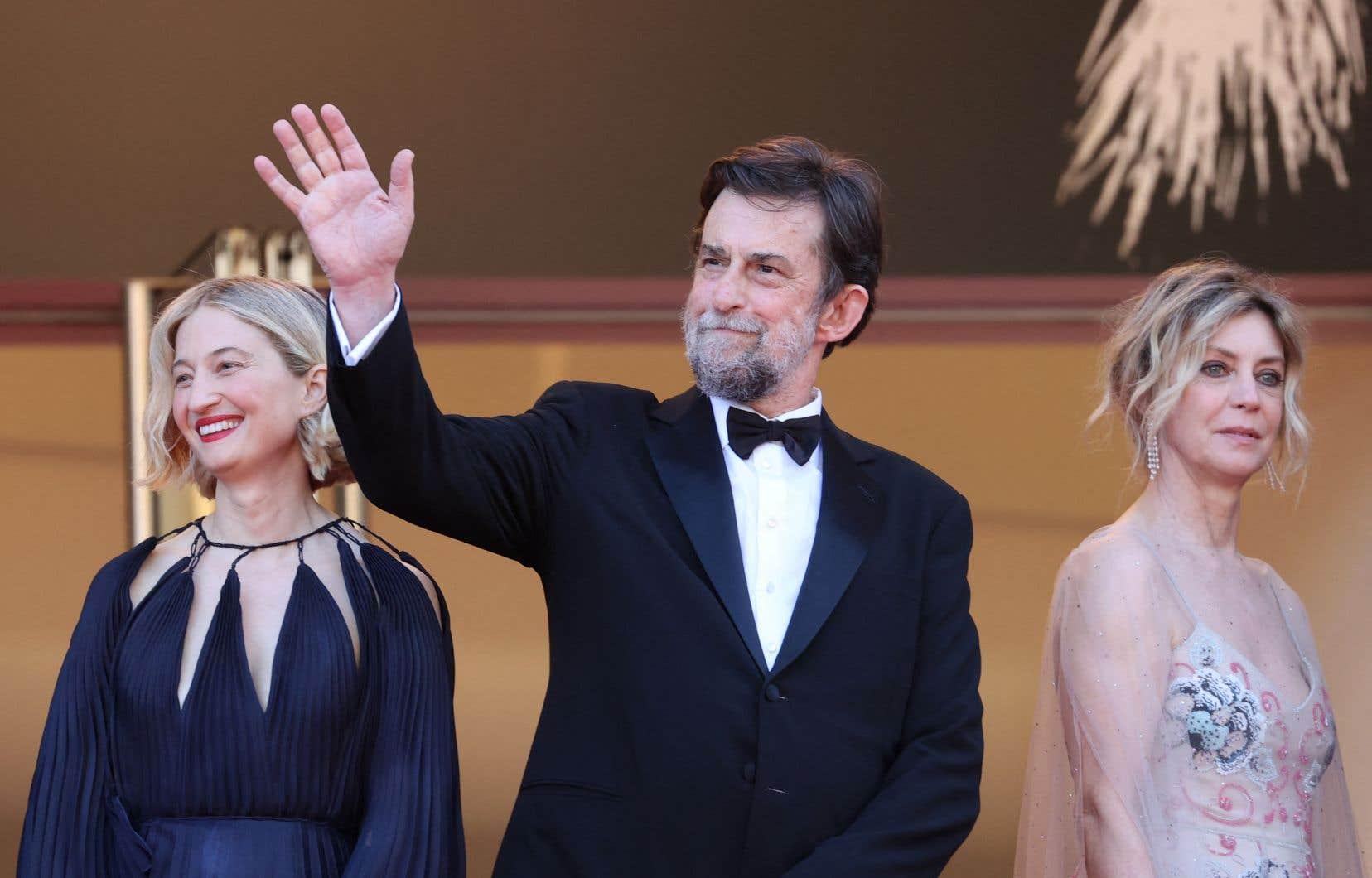 Le cinéaste Nanni Moretti pose avec les actrices de son film «Tre Piani» Alba Rohrwacher (à gauche) et Margherita Buy (à droite).