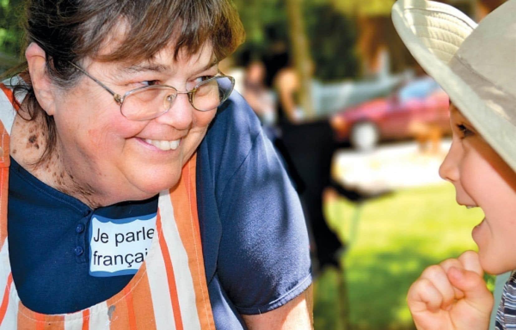 Grandma Phyllis, Franco-Américaine de quatrième génération, anime les enfants au French Heritage Day de Vergennes, dans l'État du Vermont. <br />