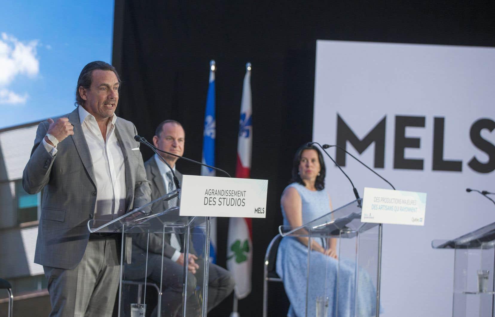 Le p.-d.g. de Groupe TVA, Pierre Karl Péladeau, le ministre Eric Girard et la mairesse Valérie Plante participaient vendredi à l'annonce de la construction du studio MELS 4.
