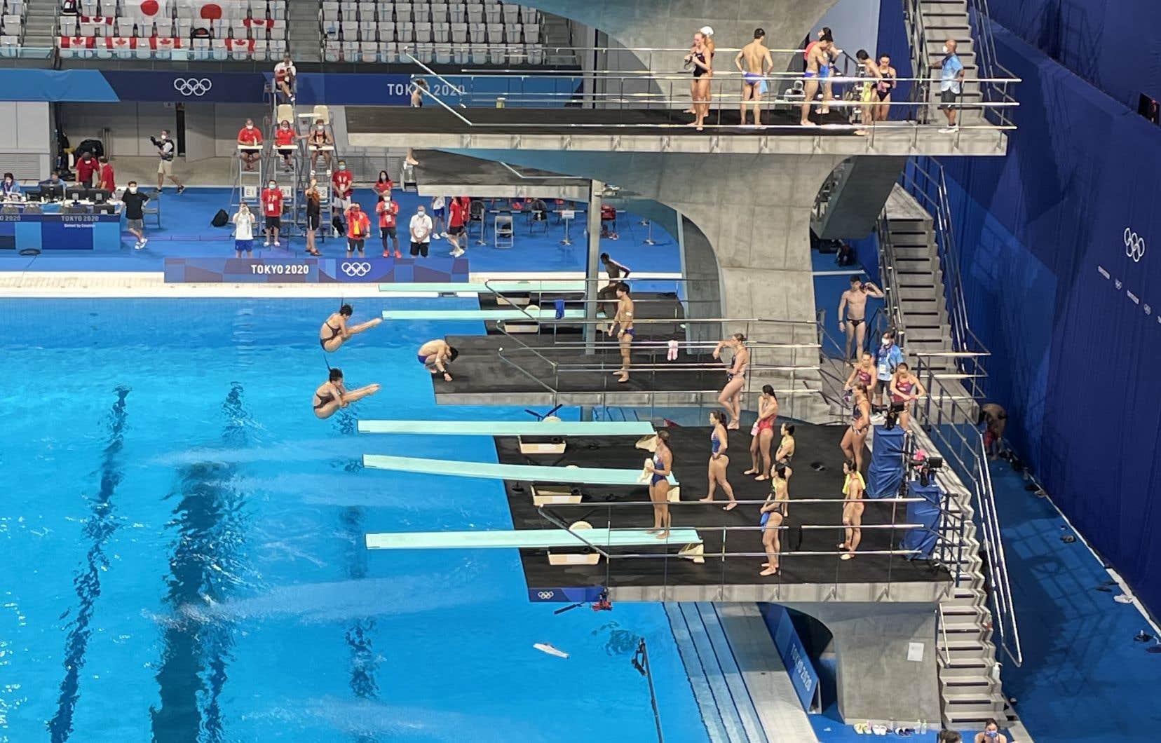 Avant les compétitions de plongeon se tient une séance d'entraînement et de réchauffement ouverte à tous.