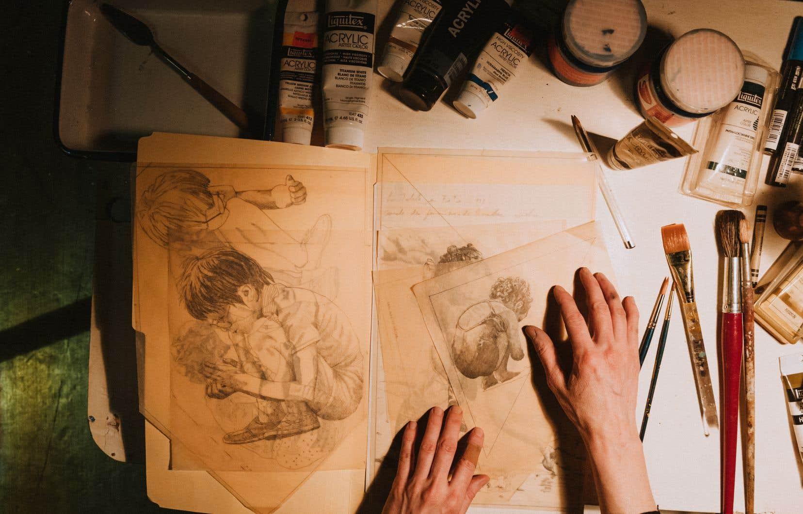 Avec«Ainsi passe la chair», Sara Moisan part de son rapport à l'œuvre de son père, le peintre Gatien Moisan. Elle désirait depuis longtemps travailler avec les matériaux contenus dans son atelier.