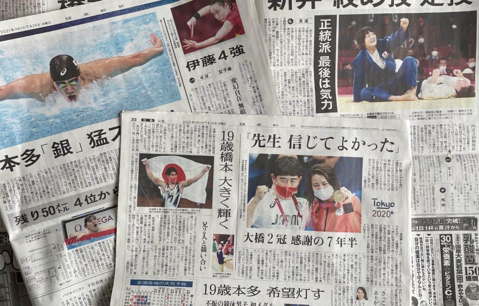 Les cotes d'écoute de la télévision (et les unes des journaux) donnent un indice de l'intérêt des Japonais pour les JO.